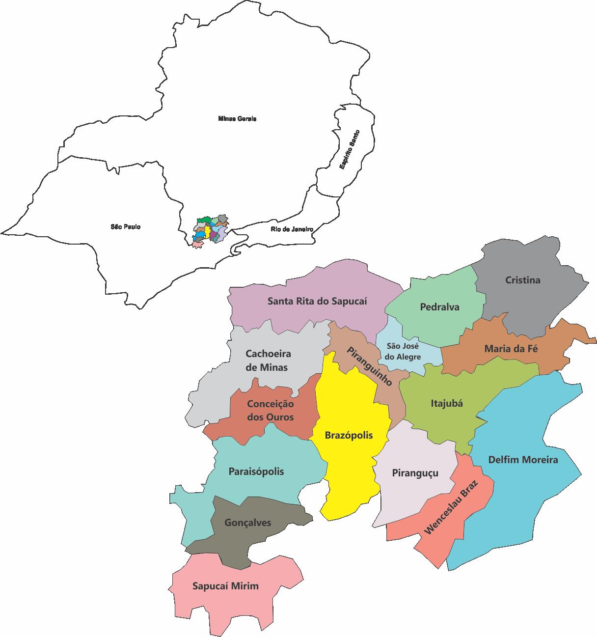 Mapa Cidades atendidas pelo Projeto